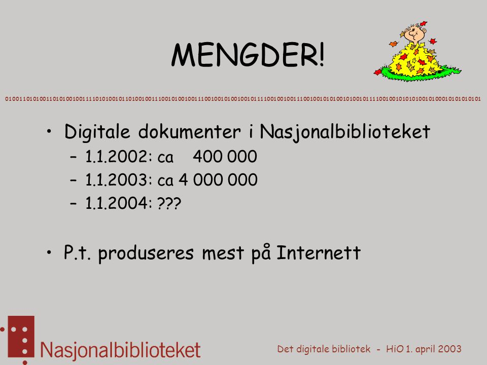 Det digitale bibliotek - HiO 1. april 2003 MENGDER.