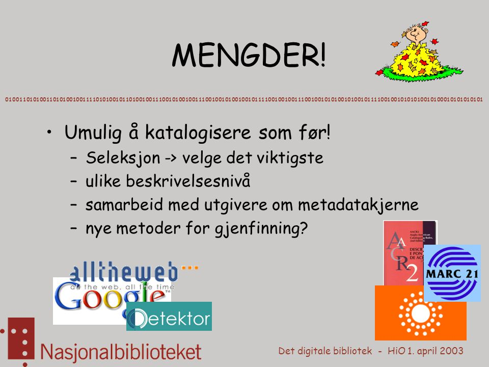 Det digitale bibliotek - HiO 1. april 2003 MENGDER! 01001101010011010100100111101010010110100100111001010010011100100101001001011110010010011100100101