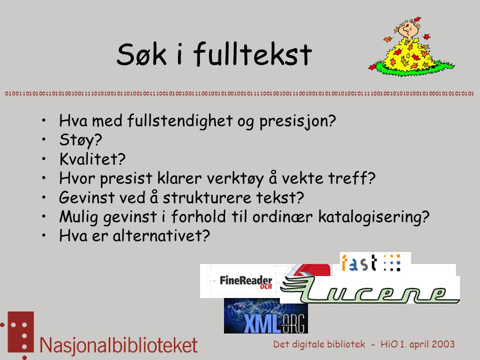 Det digitale bibliotek - HiO 1. april 2003 Søk i fulltekst 0100110101001101010010011110101001011010010011100101001001110010010100100101111001001001110