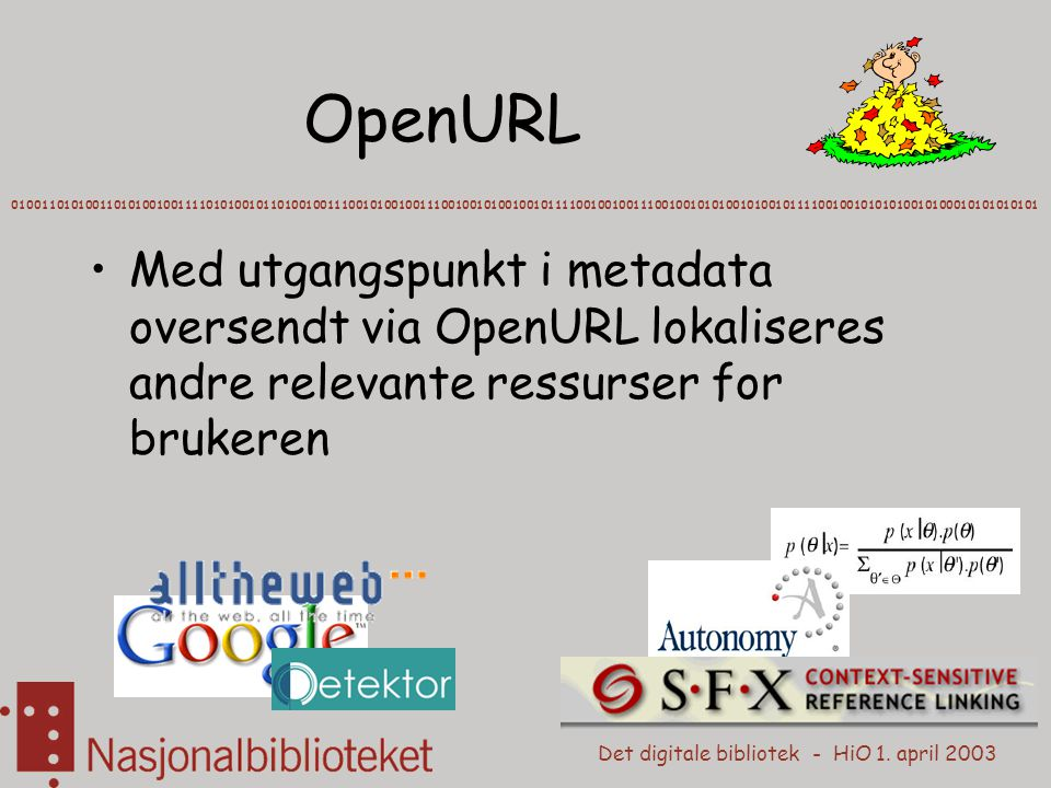 Det digitale bibliotek - HiO 1. april 2003 OpenURL 010011010100110101001001111010100101101001001110010100100111001001010010010111100100100111001001010