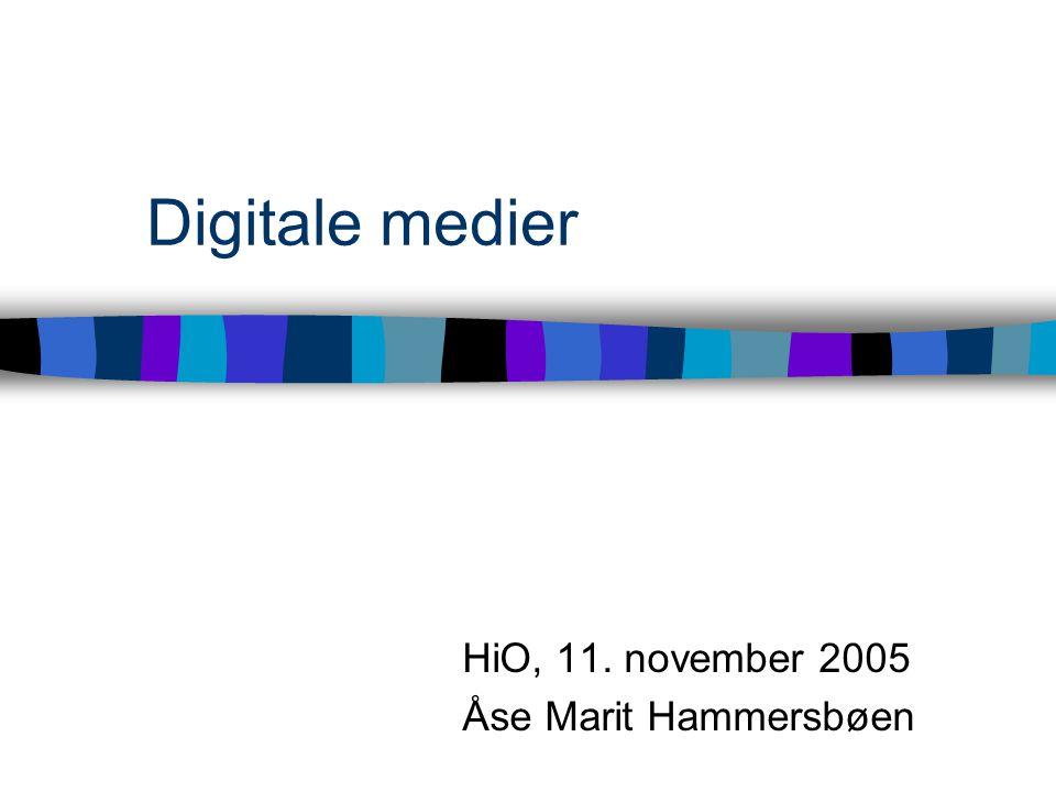 Digitale medier HiO, 11. november 2005 Åse Marit Hammersbøen