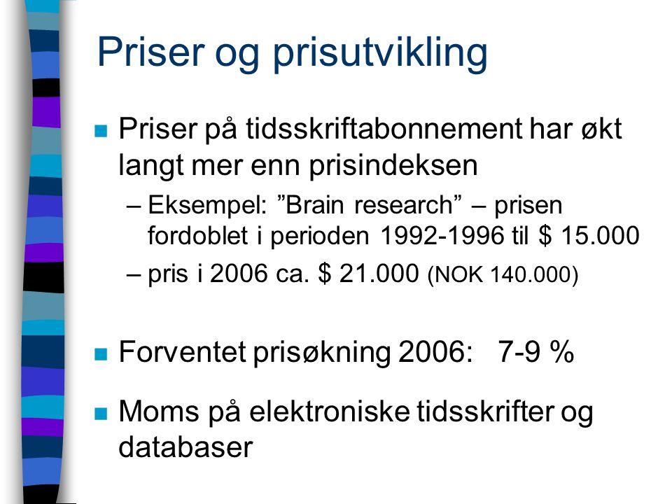 Priser og prisutvikling n Priser på tidsskriftabonnement har økt langt mer enn prisindeksen –Eksempel: Brain research – prisen fordoblet i perioden 1992-1996 til $ 15.000 –pris i 2006 ca.
