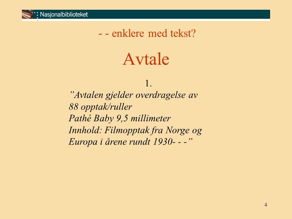 """4 1. """"Avtalen gjelder overdragelse av 88 opptak/ruller Pathé Baby 9,5 millimeter Innhold: Filmopptak fra Norge og Europa i årene rundt 1930- - -"""" - -"""