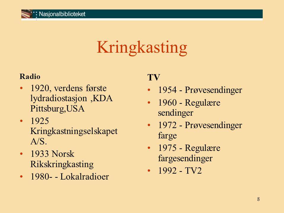 8 Kringkasting Radio 1920, verdens første lydradiostasjon,KDA Pittsburg,USA 1925 Kringkastningselskapet A/S. 1933 Norsk Rikskringkasting 1980- - Lokal