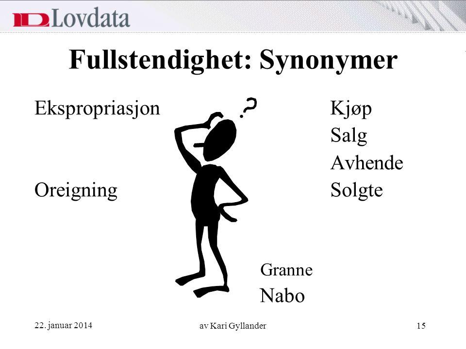 22. januar 2014 av Kari Gyllander15 Fullstendighet: Synonymer Ekspropriasjon Oreigning Kjøp Salg Avhende Solgte Granne Nabo