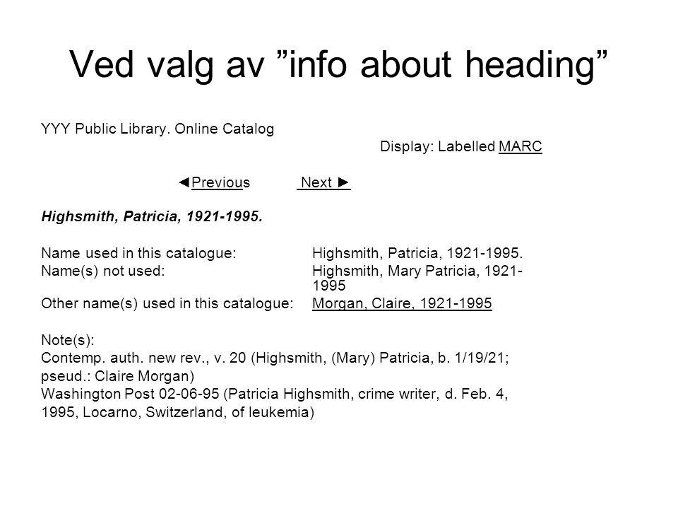 Ved valg av info about heading YYY Public Library.