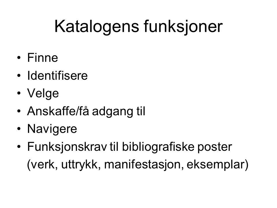 Katalogens funksjoner Finne Identifisere Velge Anskaffe/få adgang til Navigere Funksjonskrav til bibliografiske poster (verk, uttrykk, manifestasjon, eksemplar)