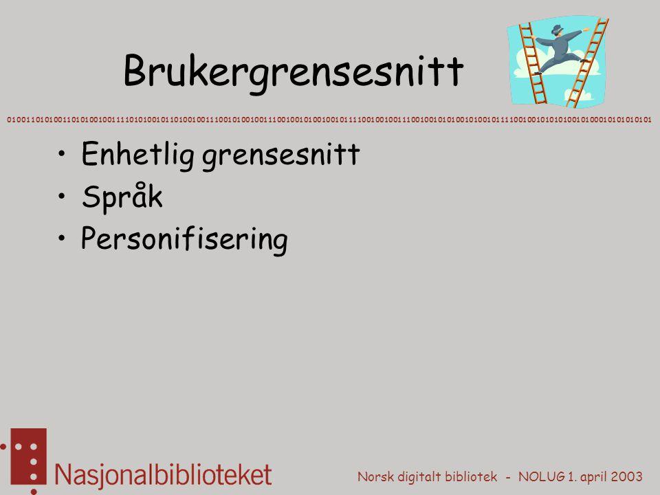 Norsk digitalt bibliotek - NOLUG 1. april 2003 Brukergrensesnitt Enhetlig grensesnitt Språk Personifisering 010011010100110101001001111010100101101001