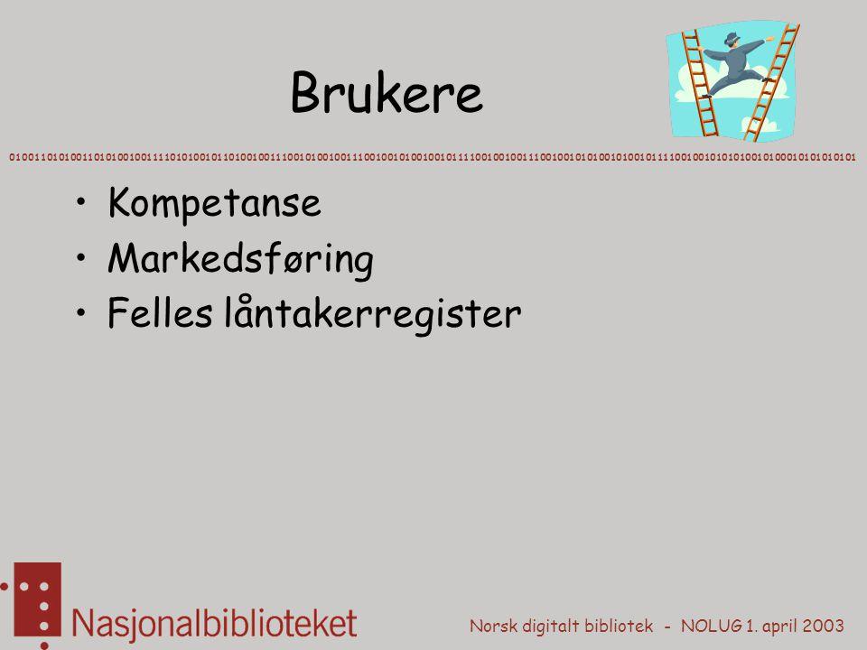 Norsk digitalt bibliotek - NOLUG 1. april 2003 Brukere Kompetanse Markedsføring Felles låntakerregister 0100110101001101010010011110101001011010010011