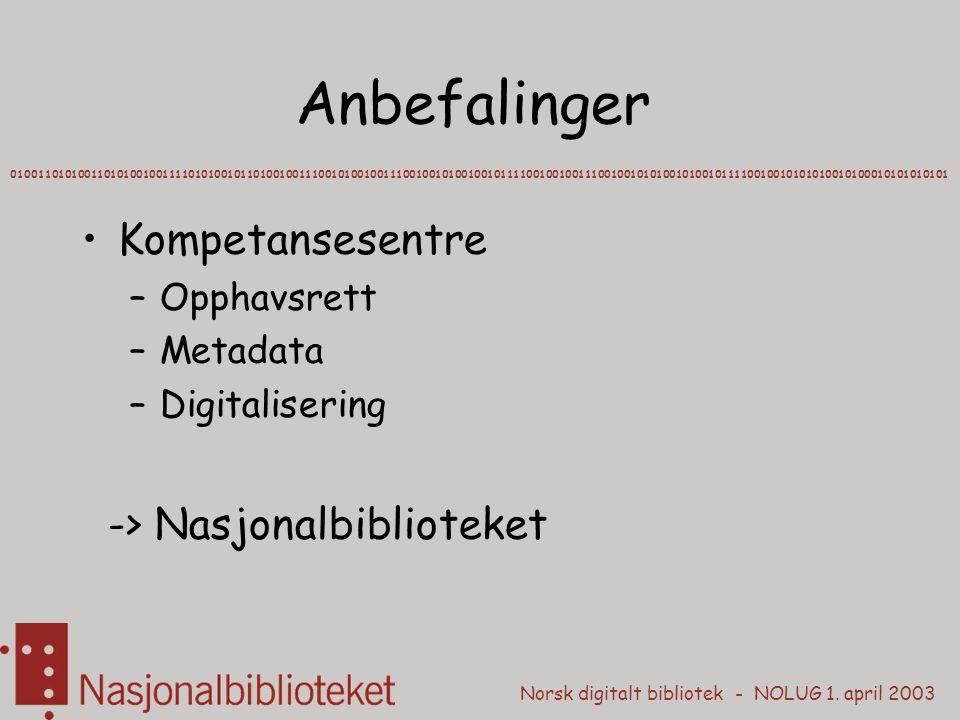 Norsk digitalt bibliotek - NOLUG 1. april 2003 Anbefalinger Kompetansesentre –Opphavsrett –Metadata –Digitalisering -> Nasjonalbiblioteket 01001101010