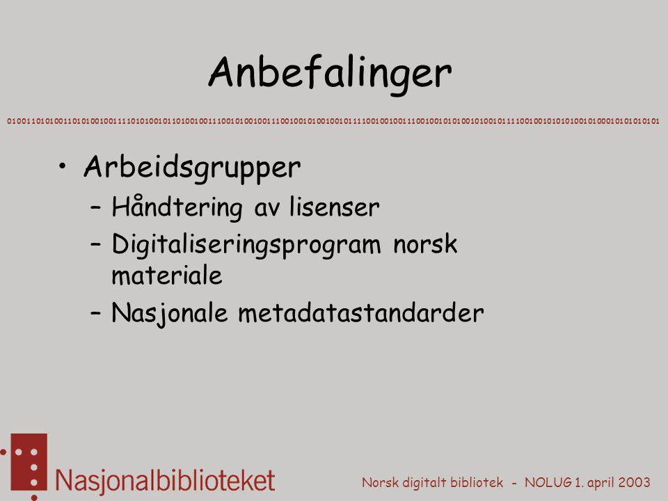 Norsk digitalt bibliotek - NOLUG 1. april 2003 Anbefalinger Arbeidsgrupper –Håndtering av lisenser –Digitaliseringsprogram norsk materiale –Nasjonale