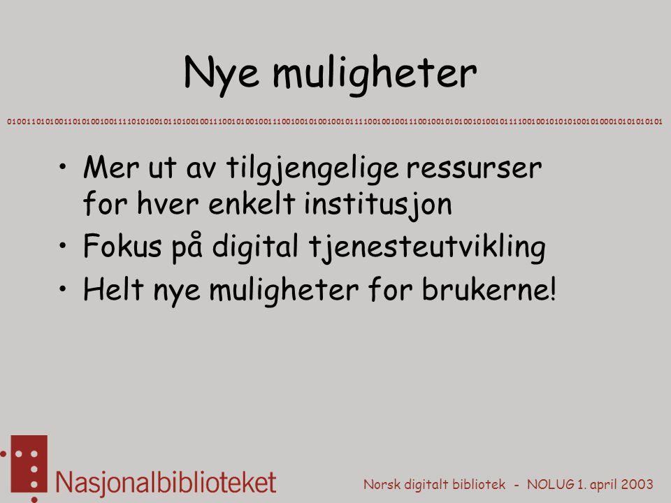 Norsk digitalt bibliotek - NOLUG 1. april 2003 Nye muligheter Mer ut av tilgjengelige ressurser for hver enkelt institusjon Fokus på digital tjenesteu