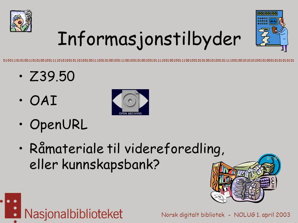 Norsk digitalt bibliotek - NOLUG 1. april 2003 Informasjonstilbyder Z39.50 OAI OpenURL Råmateriale til videreforedling, eller kunnskapsbank? 010011010