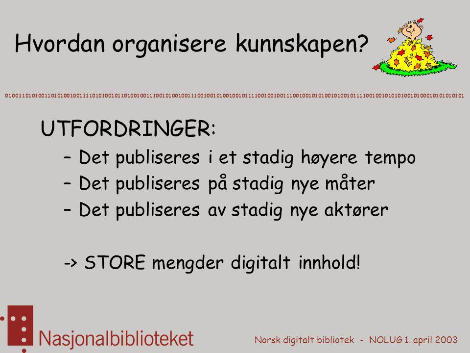 Norsk digitalt bibliotek - NOLUG 1. april 2003 Hvordan organisere kunnskapen? 010011010100110101001001111010100101101001001110010100100111001001010010