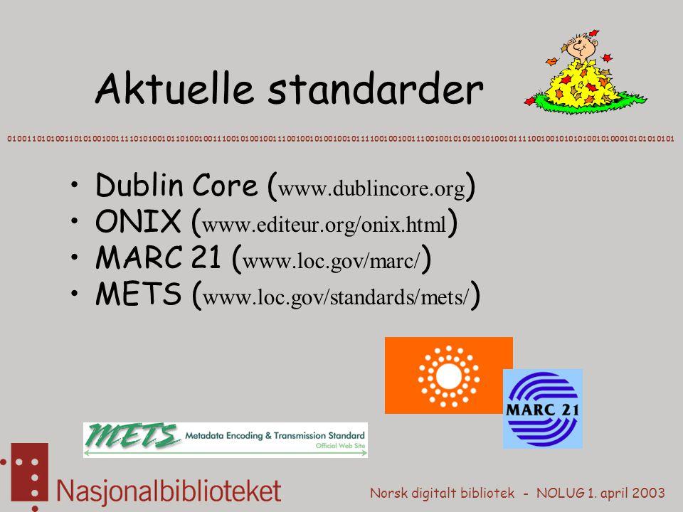 Norsk digitalt bibliotek - NOLUG 1. april 2003 Aktuelle standarder Dublin Core ( www.dublincore.org ) ONIX ( www.editeur.org/onix.html ) MARC 21 ( www