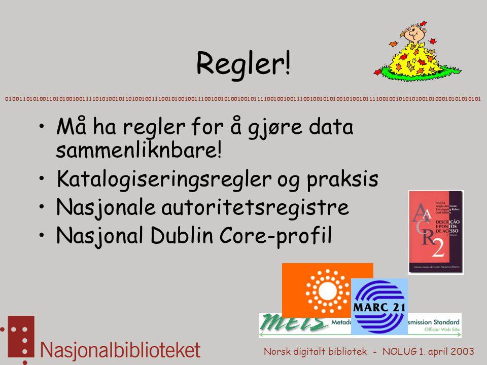 Norsk digitalt bibliotek - NOLUG 1. april 2003 Regler! Må ha regler for å gjøre data sammenliknbare! Katalogiseringsregler og praksis Nasjonale autori