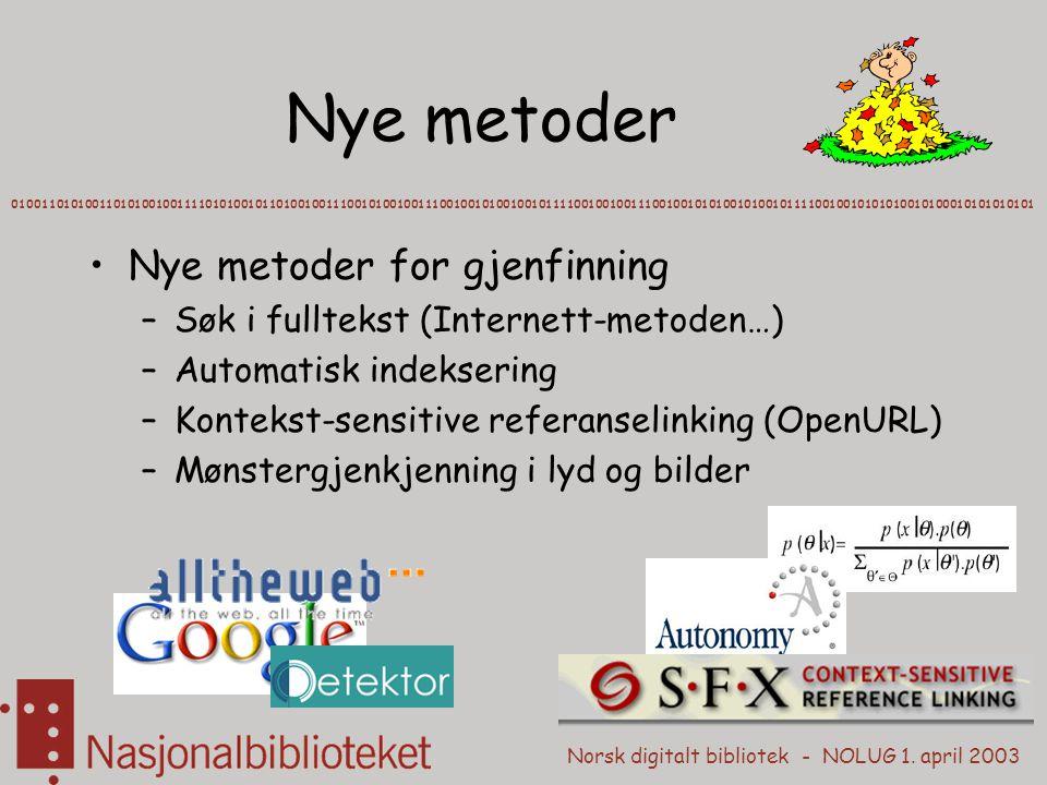 Norsk digitalt bibliotek - NOLUG 1. april 2003 Nye metoder 0100110101001101010010011110101001011010010011100101001001110010010100100101111001001001110