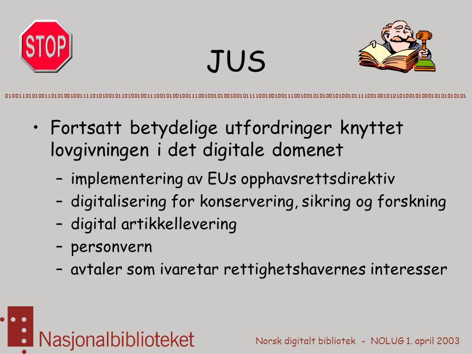 Norsk digitalt bibliotek - NOLUG 1. april 2003 JUS Fortsatt betydelige utfordringer knyttet lovgivningen i det digitale domenet –implementering av EUs