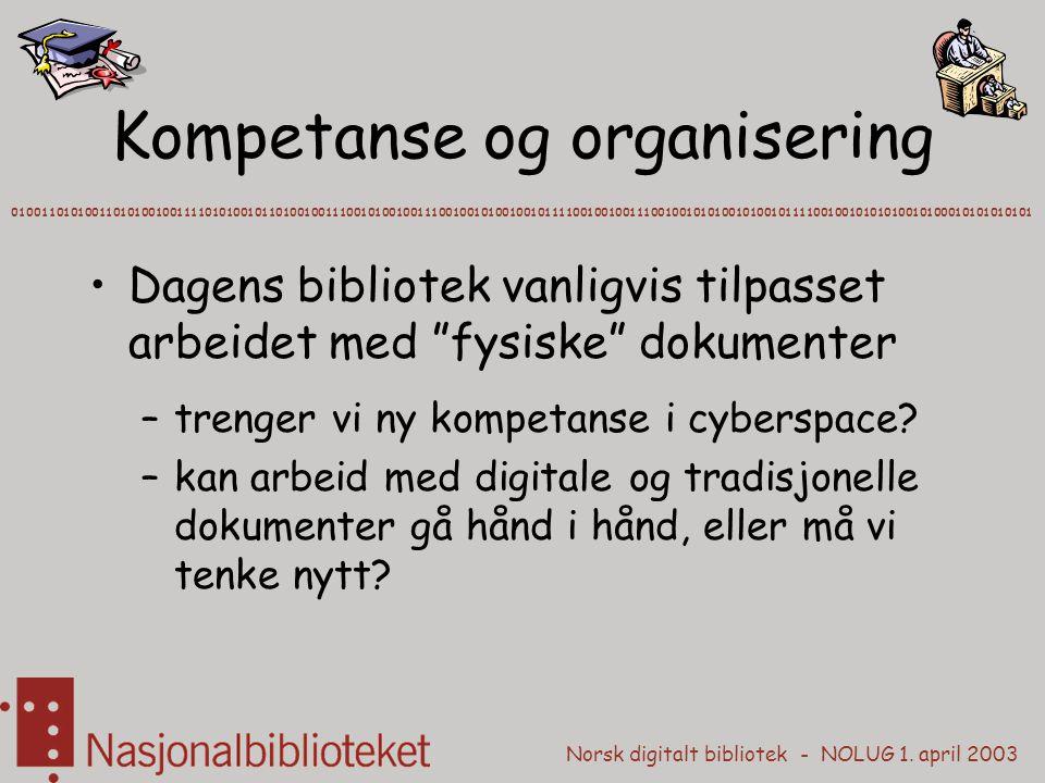 """Norsk digitalt bibliotek - NOLUG 1. april 2003 Kompetanse og organisering Dagens bibliotek vanligvis tilpasset arbeidet med """"fysiske"""" dokumenter –tren"""