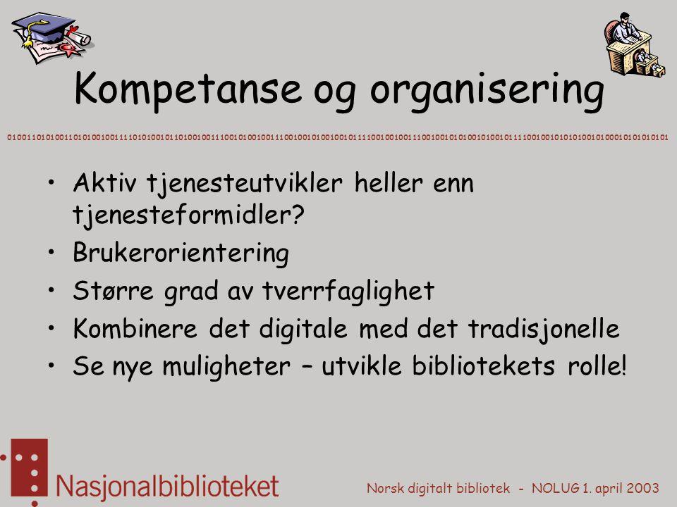 Norsk digitalt bibliotek - NOLUG 1. april 2003 Kompetanse og organisering Aktiv tjenesteutvikler heller enn tjenesteformidler? Brukerorientering Størr