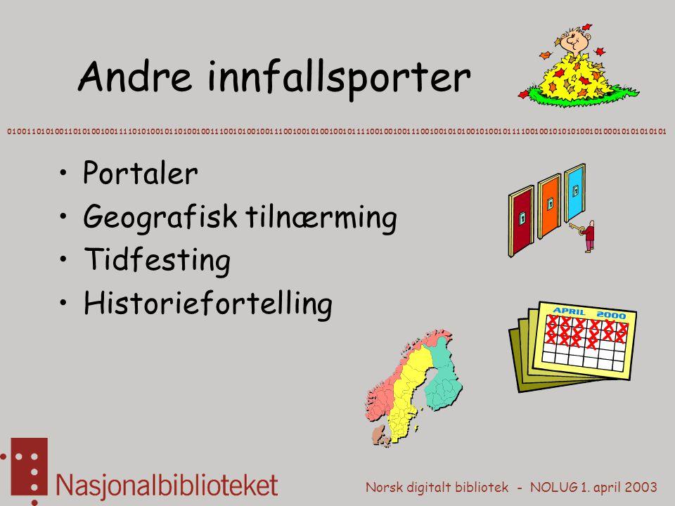 Norsk digitalt bibliotek - NOLUG 1. april 2003 Andre innfallsporter 0100110101001101010010011110101001011010010011100101001001110010010100100101111001