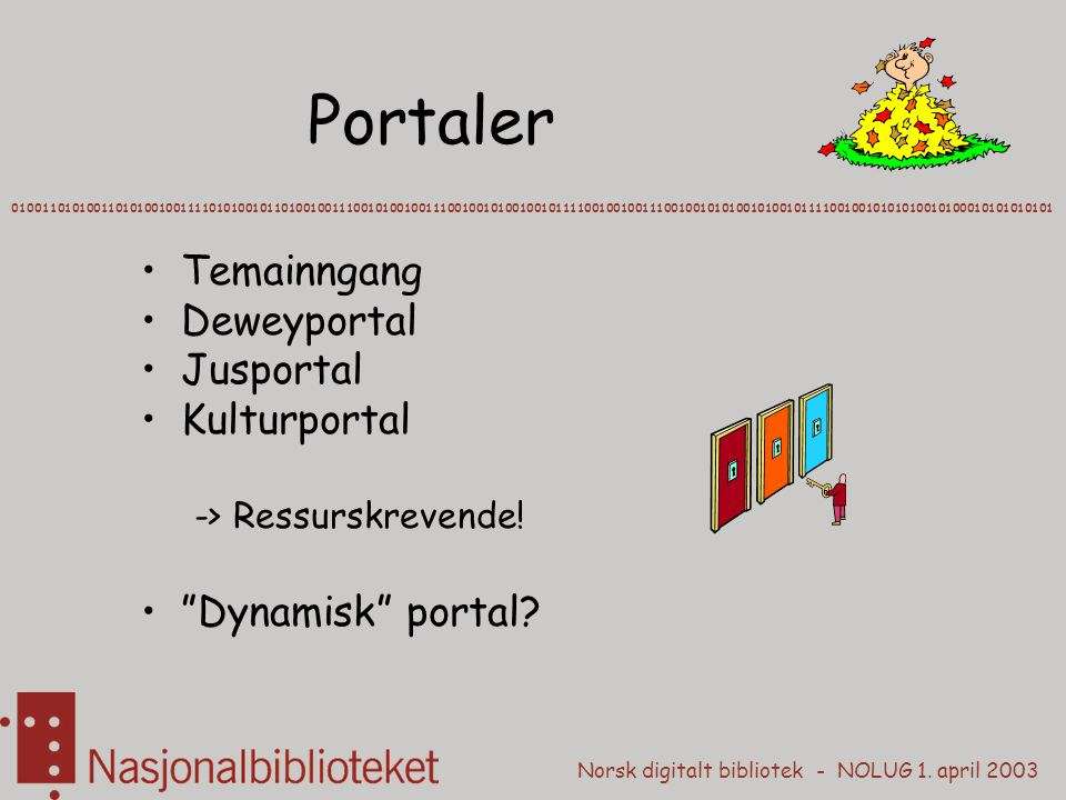 Norsk digitalt bibliotek - NOLUG 1. april 2003 Portaler 0100110101001101010010011110101001011010010011100101001001110010010100100101111001001001110010