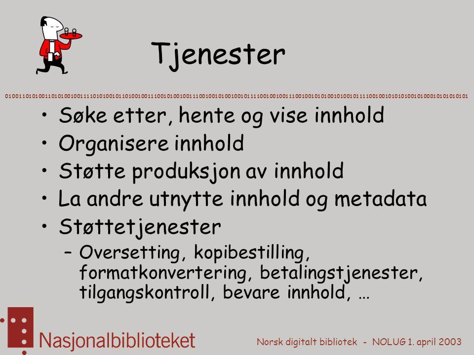 Norsk digitalt bibliotek - NOLUG 1. april 2003 Tjenester Søke etter, hente og vise innhold Organisere innhold Støtte produksjon av innhold La andre ut