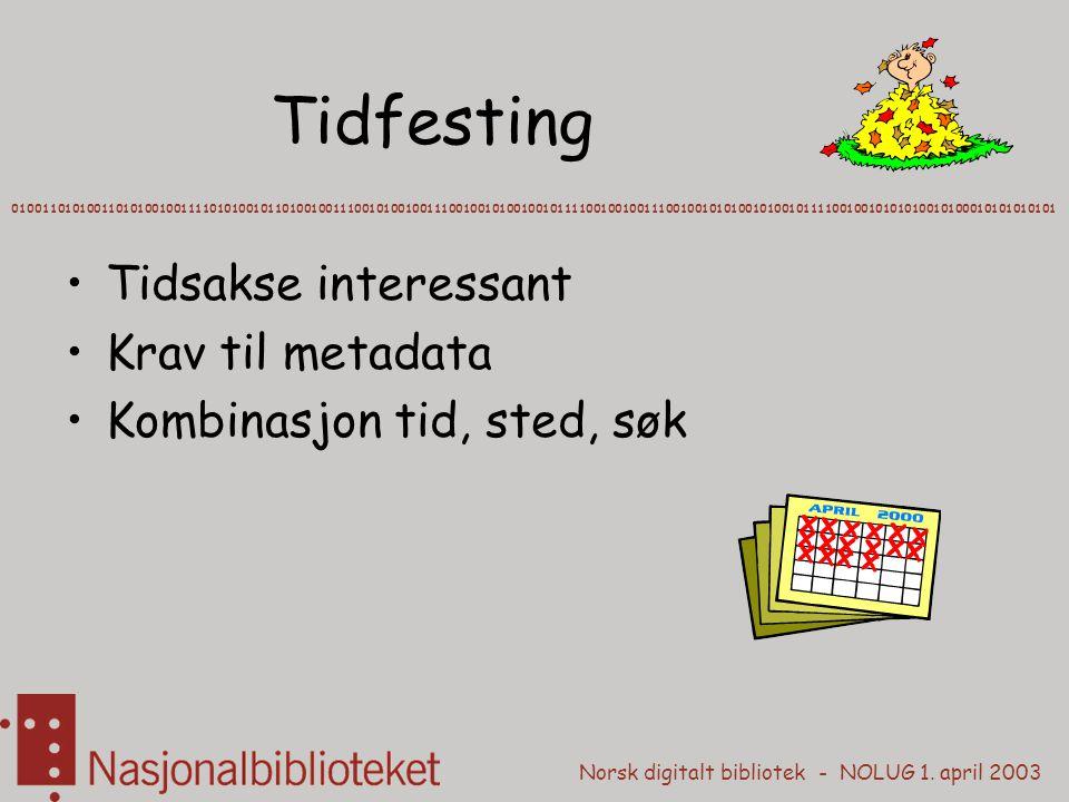 Norsk digitalt bibliotek - NOLUG 1. april 2003 Tidfesting 01001101010011010100100111101010010110100100111001010010011100100101001001011110010010011100