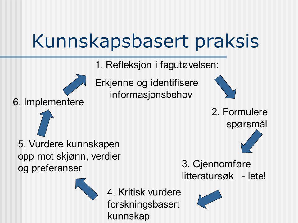 1.Refleksjon i fagutøvelsen: Erkjenne og identifisere informasjonsbehov 2.