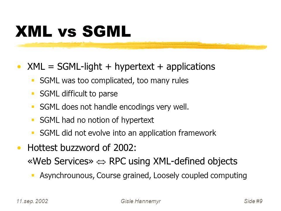 11.sep.2002Gisle HannemyrSide #20 XML: Hallo Verden.