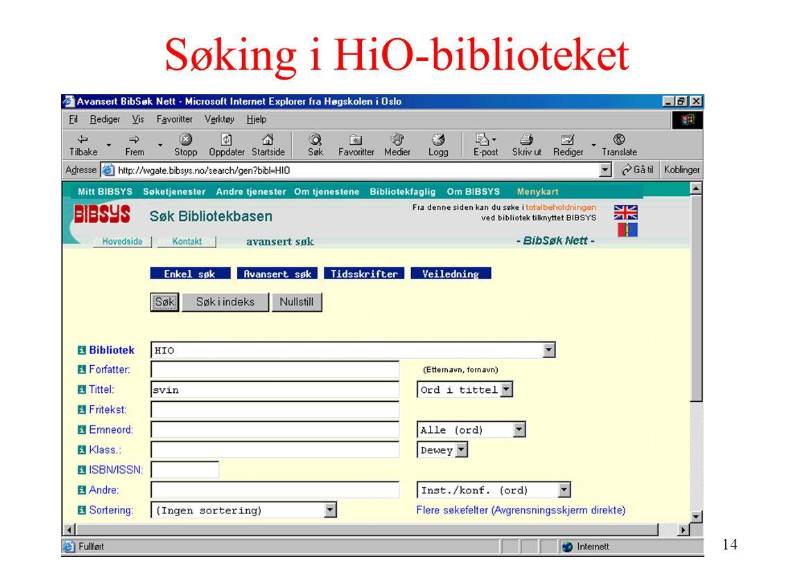 14 Søking i HiO-biblioteket