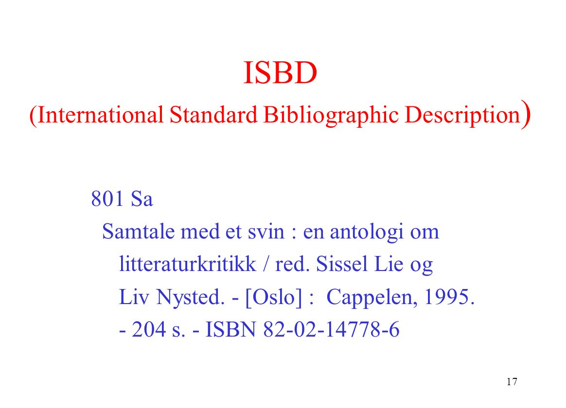 17 ISBD (International Standard Bibliographic Description ) 801 Sa Samtale med et svin : en antologi om litteraturkritikk / red.
