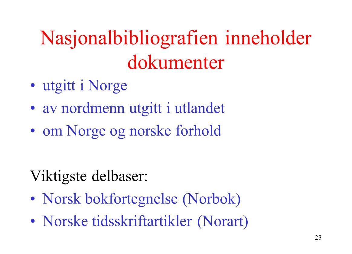 23 Nasjonalbibliografien inneholder dokumenter utgitt i Norge av nordmenn utgitt i utlandet om Norge og norske forhold Viktigste delbaser: Norsk bokfortegnelse (Norbok) Norske tidsskriftartikler (Norart)