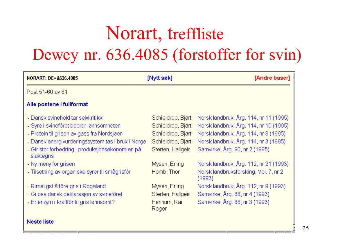 25 Norart, t reffliste Dewey nr. 636.4085 (forstoffer for svin)
