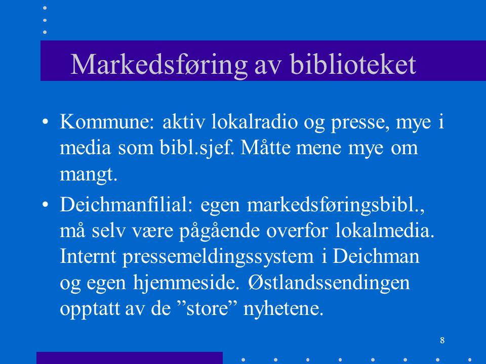 8 Markedsføring av biblioteket Kommune: aktiv lokalradio og presse, mye i media som bibl.sjef.