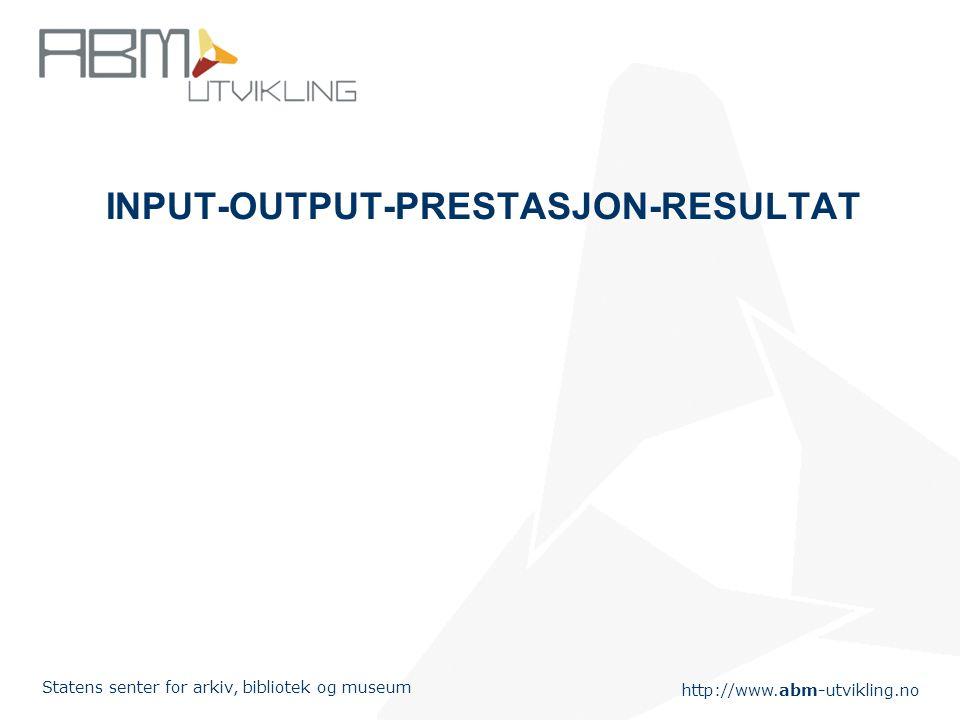 http://www.abm-utvikling.no Statens senter for arkiv, bibliotek og museum INPUT-OUTPUT-PRESTASJON-RESULTAT