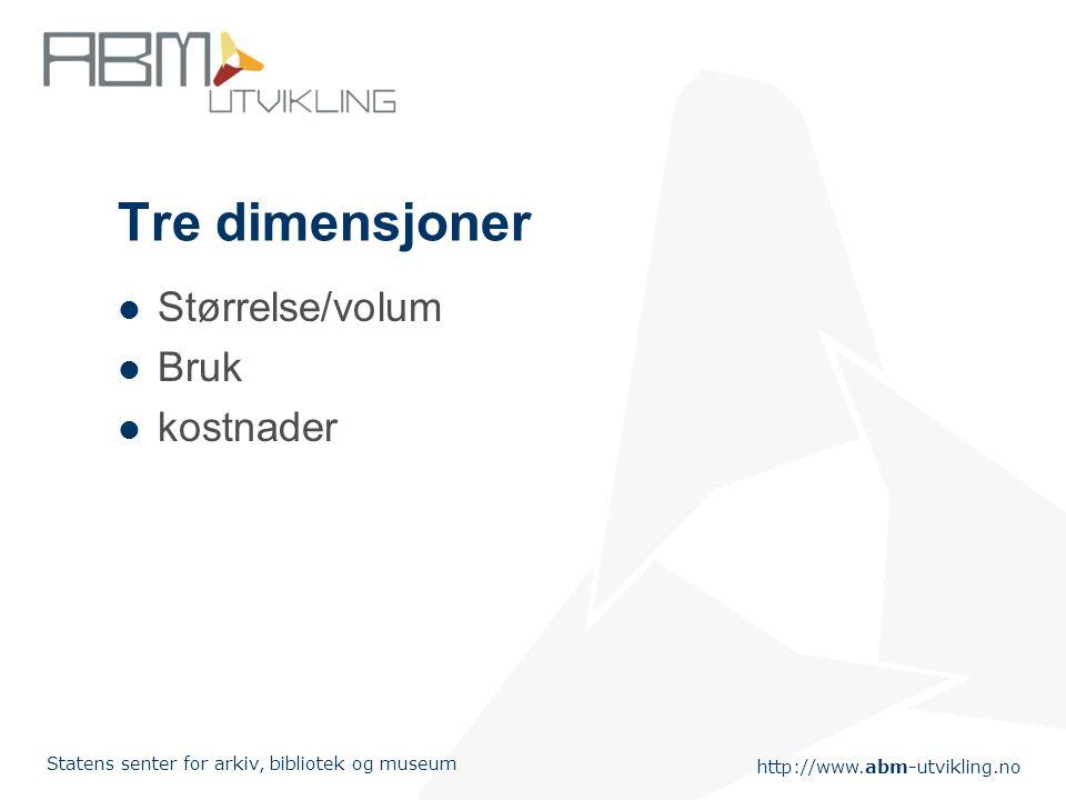 http://www.abm-utvikling.no Statens senter for arkiv, bibliotek og museum Tre dimensjoner Størrelse/volum Bruk kostnader