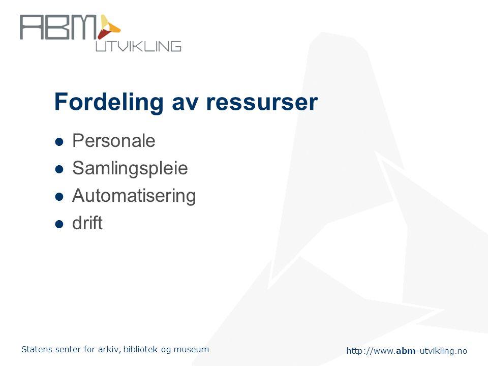 http://www.abm-utvikling.no Statens senter for arkiv, bibliotek og museum Fordeling av ressurser Personale Samlingspleie Automatisering drift
