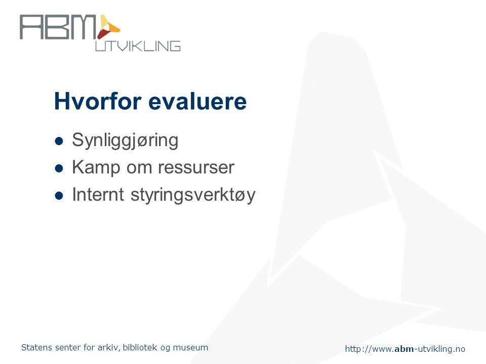 http://www.abm-utvikling.no Statens senter for arkiv, bibliotek og museum Hvorfor evaluere Synliggjøring Kamp om ressurser Internt styringsverktøy