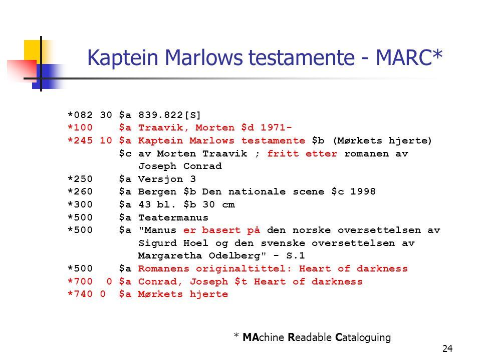 24 Kaptein Marlows testamente - MARC* *082 30 $a 839.822[S] *100 $a Traavik, Morten $d 1971- *245 10 $a Kaptein Marlows testamente $b (Mørkets hjerte)