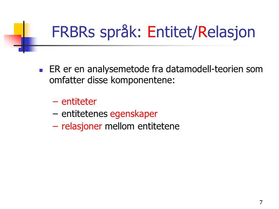 7 FRBRs språk: Entitet/Relasjon ER er en analysemetode fra datamodell-teorien som omfatter disse komponentene: –entiteter –entitetenes egenskaper –rel