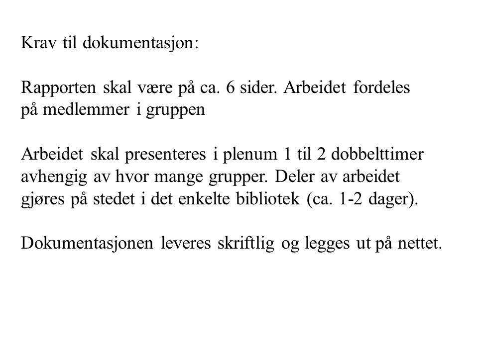 Krav til dokumentasjon: Rapporten skal være på ca. 6 sider. Arbeidet fordeles på medlemmer i gruppen Arbeidet skal presenteres i plenum 1 til 2 dobbel