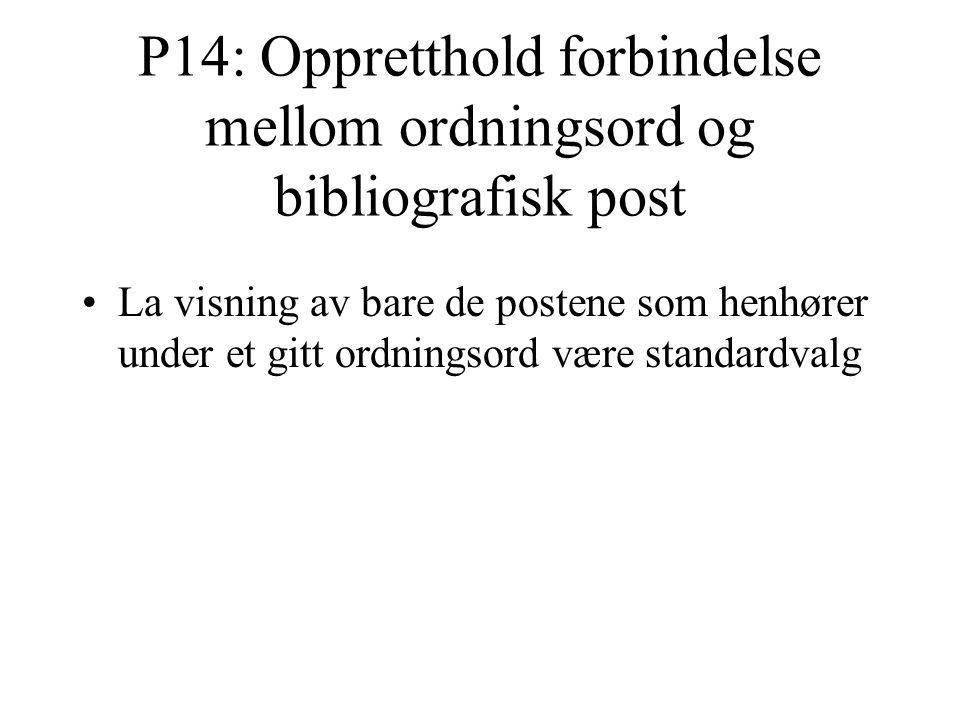 P14: Oppretthold forbindelse mellom ordningsord og bibliografisk post La visning av bare de postene som henhører under et gitt ordningsord være standardvalg