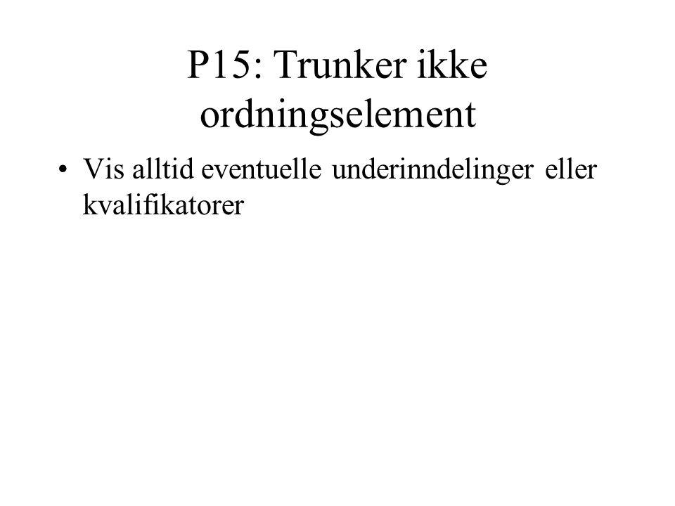 P15: Trunker ikke ordningselement Vis alltid eventuelle underinndelinger eller kvalifikatorer