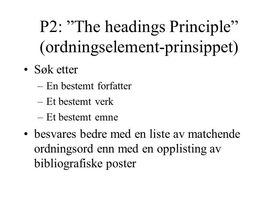P2: The headings Principle (ordningselement-prinsippet) Søk etter –En bestemt forfatter –Et bestemt verk –Et bestemt emne besvares bedre med en liste av matchende ordningsord enn med en opplisting av bibliografiske poster