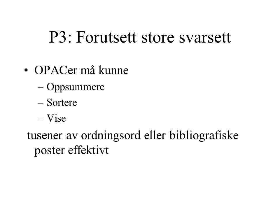 P3: Forutsett store svarsett OPACer må kunne –Oppsummere –Sortere –Vise tusener av ordningsord eller bibliografiske poster effektivt