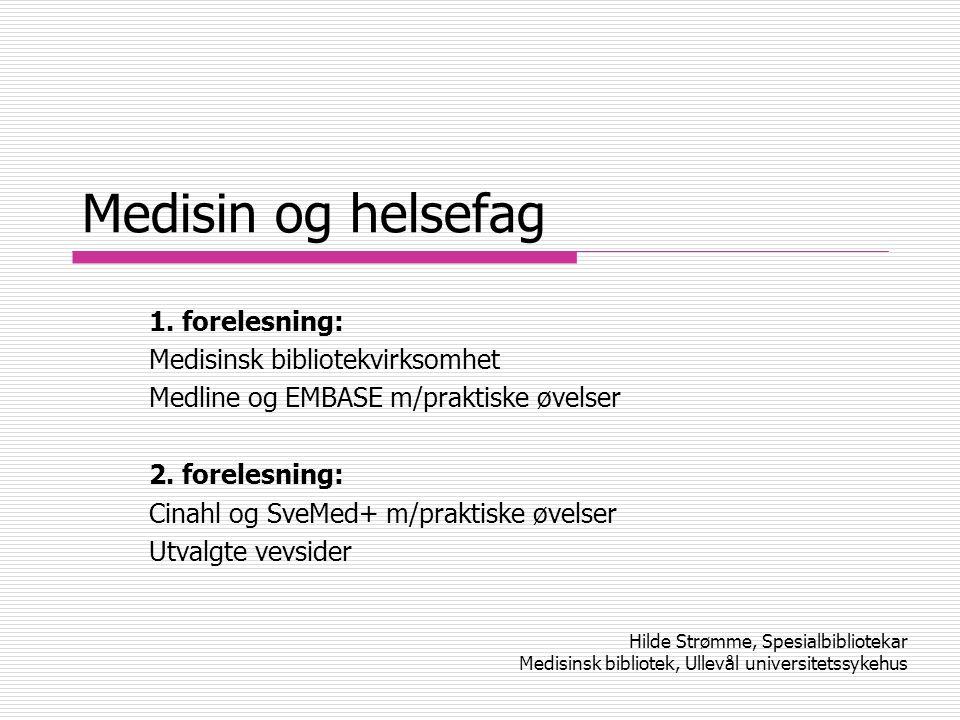 Medisinsk bibliotek på Ullevål  Bedriftsbibliotek for: Helsepersonnell på sykehuset Sykekpleiere i videreutdanning (lønnet av sykehuset) Medisinstudenter med praksis/undervisning på sykehuset  Hva med pasientene.