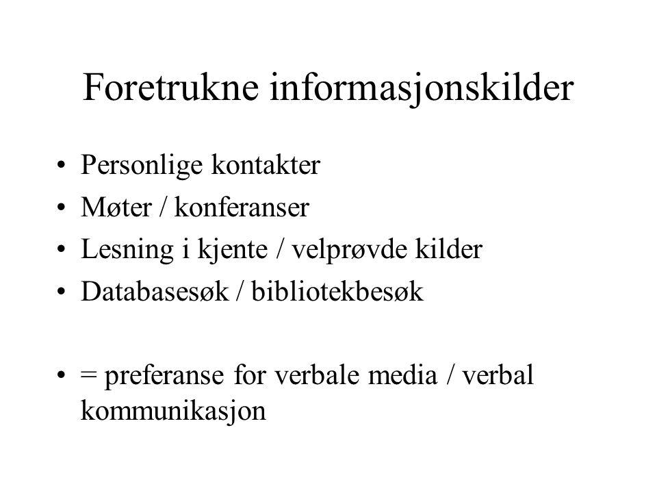 Foretrukne informasjonskilder Personlige kontakter Møter / konferanser Lesning i kjente / velprøvde kilder Databasesøk / bibliotekbesøk = preferanse for verbale media / verbal kommunikasjon