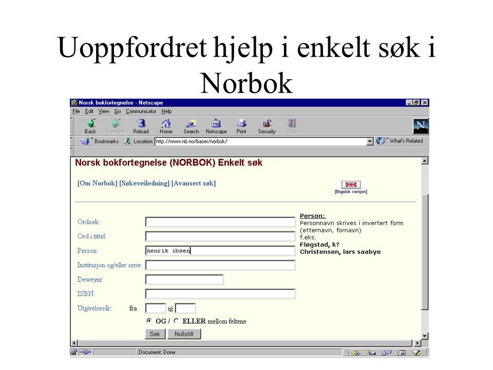 Uoppfordret hjelp i enkelt søk i Norbok