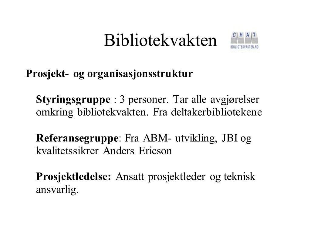Bibliotekvakten Prosjekt- og organisasjonsstruktur Styringsgruppe : 3 personer. Tar alle avgjørelser omkring bibliotekvakten. Fra deltakerbibliotekene